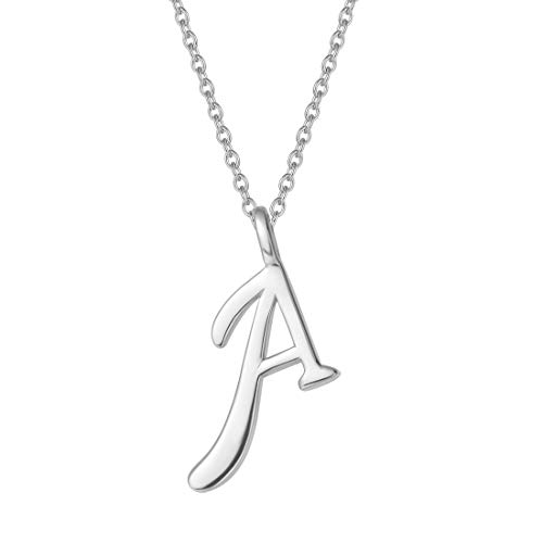 """FANCIME Sterling Silver Initial Necklace High Polish Customize Monogram Letter Pendant Necklace Personalize Name Neckalce for Girls Fine Jewelry for Women Girls 16"""" + 2"""" Extender"""