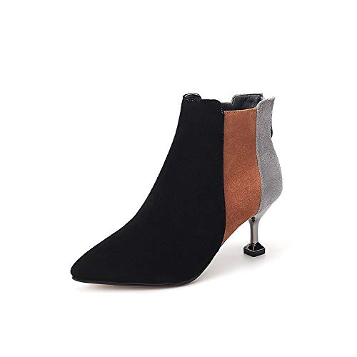 HOESCZS Herbst Und Winter Frauen Leder Stiefel Slip Stiletto Heels Reißverschluss Farbabstimmung Rutschfeste Martin Stiefel Mode
