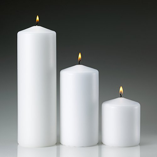 White Pillar Candle Variety Set - 3 Unscented Pillar Candles - Set includes 3