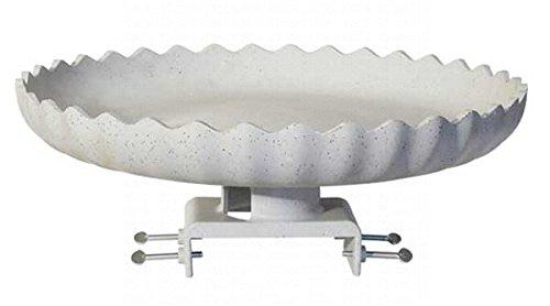 2 PACK Scalloped Birdbath w/Deck Mount Gray Stone by Farm Innovators
