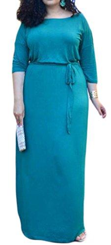 Donne Blu Abito Leggero Lungo Oscillazione Girocollo Solide Mezza Manica Casuale Delle Cromoncent p0fqgEwPnx