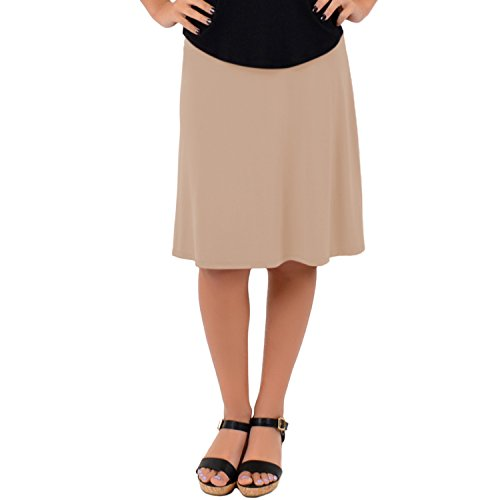 Stretch is Comfort Women's A-Line Skirt Beige (Mid Length Stretch Skirt)