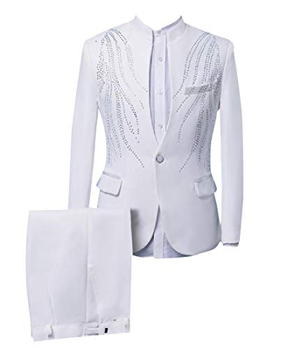 Winwinus Mens Slim Fit Embellished Dress Suit Flat Front Pants Set White XL