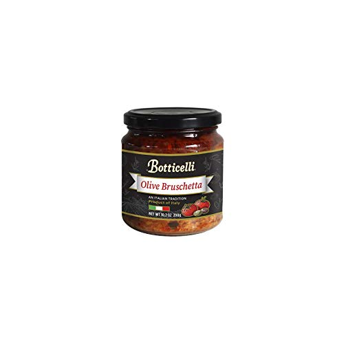 Botticelli Olive Bruschetta. Italian Style Appetizer. Mix of Green and Black Olives, Tomatoes, Capers and Olive Oil. Imported from Italy (10.2oz/290g)