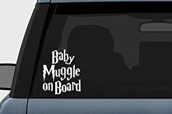 """Baby Muggle on Board White Vinyl Decal Harry Potter 6/"""""""