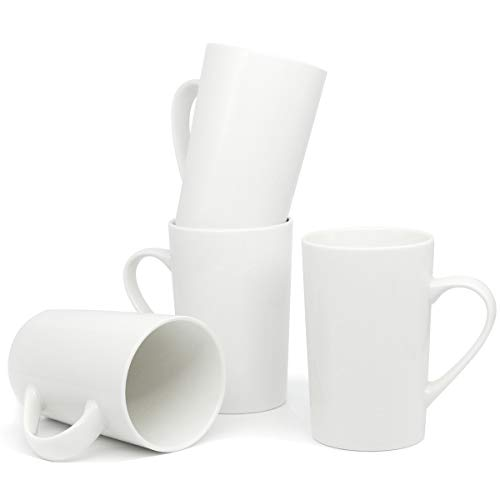 (14 OZ Ceramic Coffee Mugs, Smilatte M005 Blank Plain Porcelain Cup with Handle for Tea Latte Cappuccino, Set of 4,)