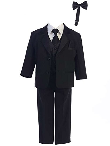 Baby Toddler Black 7 Pc Two Buttoned Tuxedo Suit With Bowtie and Necktie