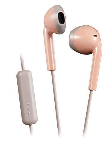 JVC Pink and Taupe Sweat and Splash Proof Retro Earbuds with Microphone and Remote HAF19MPT