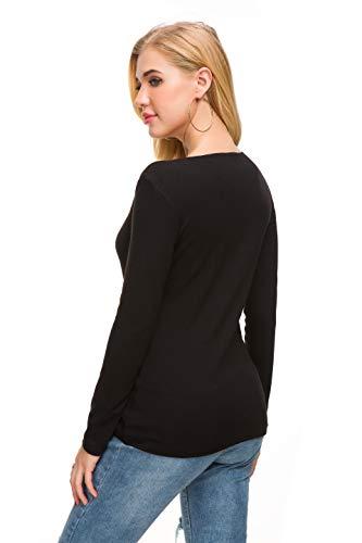 Afibi Women V Neck Zip Front Long Sleeve Casual Top Blouse Shirt/Cardigan