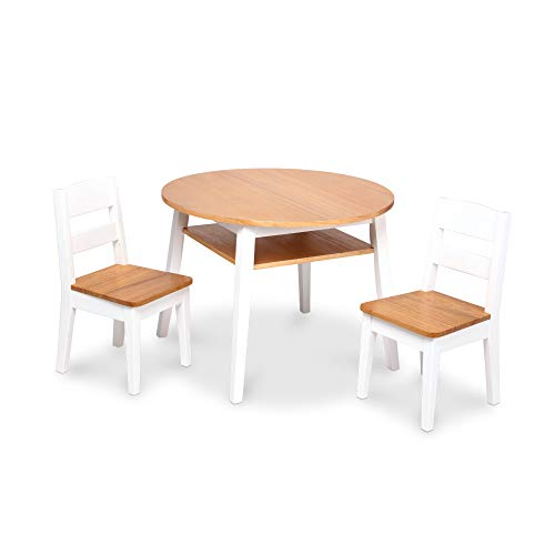 Melissa & Doug Wooden Round Table and 2 Chairs Set – Kids Furniture for Playroom, Light Woodgrain and White 2-Tone…