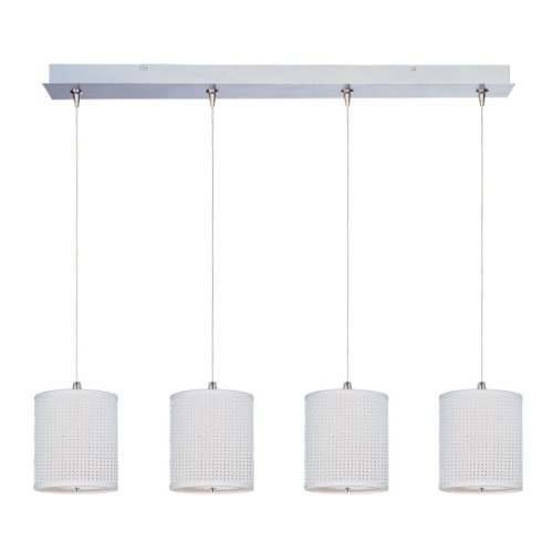 ET2 E95499-100SN Elements 4-Light RapidJack Pendant and Canopy Linear Pendant, Satin Nickel Finish, Glass, 12V GY6.35 T4 Xenon Bulb, 50W Max., Dry Safety Rated, 3000K Color Temp., Standard Triac/Lutron or Leviton Dimmable, Acrylic Shade Material, 1440 Rated Lumens