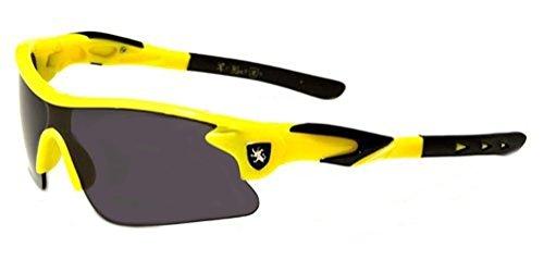 Khan New 2014 Kids Boys Biking Baseball Performance Sports Sunglasses-KN40KD (Yellow Black Tips)