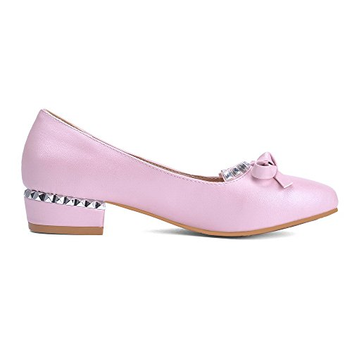 Women's Pumps Solid Pu Shoes Heels Pull On WeiPoot Toe Pink Low Pointed Closed dwvxx0Oq