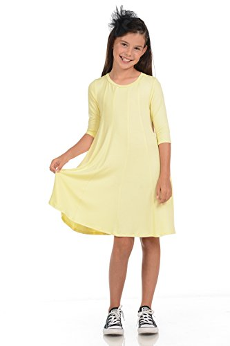 Honey Vanilla Girls' A-Line Trapeze Dress Medium 7-8 Years Banana