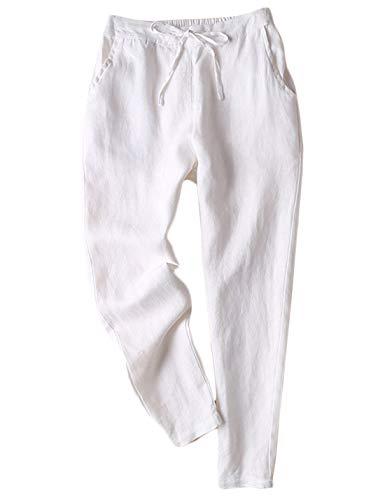 - Jenkoon Women's Linen Pants Back Elastic Drawstring Tapered Pants Lightweight Summer Trousers (White, Large)