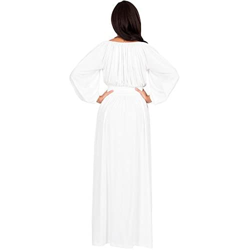 3a123259440a KOH KOH Womens Long Sleeve Vintage Peasant Empire Waist Pleated Fall Maxi  Dress low-cost