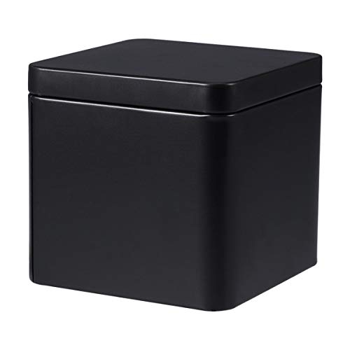 Yardwe Metal Tins with Lid Square Gift Box for Tea Candles Candies Gifts Balms Treasures (Matte Black)