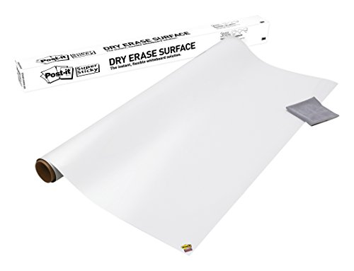 Post-it Dry Erase Whiteboard Film Surface for Walls, Doors, Tables, Chalkboards, Whiteboards, and More, Removable, Super Sticky, Stain-Proof, Easy Installation, 3 ft x 2 ft Roll (DEF3X2A) (Vinyl Erase Dry)