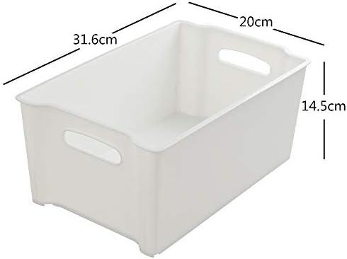 Eudokky Blanco Caja Plástico Almacenaje Rectangular sin Tapa, Cestas Almacenamiento Apilables, 4 Paquetes: Amazon.es: Hogar