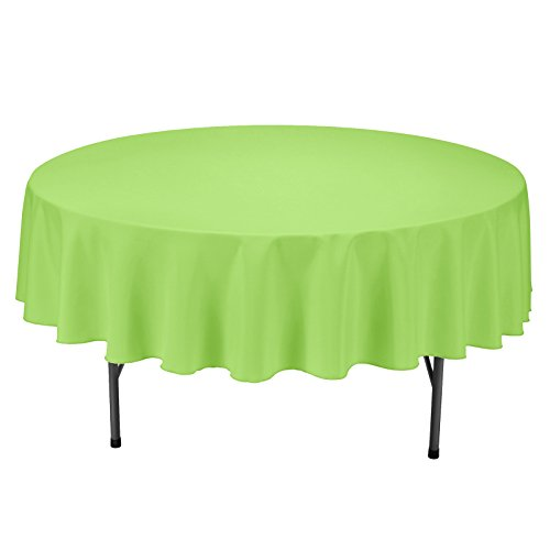 Remedios Round Tablecloth Solid Color Polyester Table Cloth for Bridal Shower Wedding Table - Wrinkle Free Dinner Tablecloth for Restaurant Party Banquet (Apple Green, 90 inch) ()