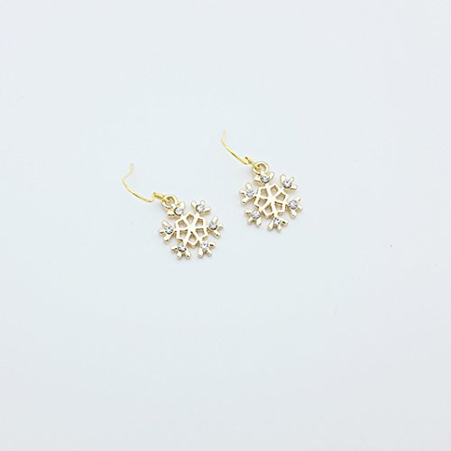 (usongs 0111 hand-made/winter snow s925 sterling silver snowflake earrings with diamond earrings ear hook)