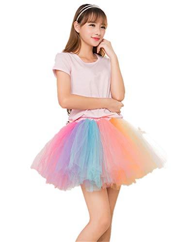 MizHome Womens Rainbow Tutu Skirt Layered Tulle Skirt Adult Halloween Costumes Rainbow1]()