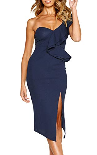 ECOWISH Women's Dresses Sexy Ruffle One Shoulder Sleeveless Split Bodycon Midi Party Dress Navy Blue XL -
