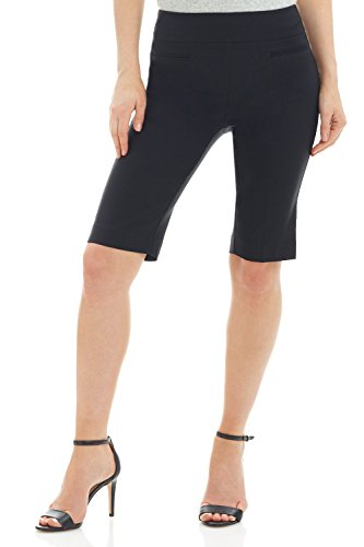 Ladies Bermuda Shorts - Rekucci Women's Ease In To Comfort Fit Pull-On Modern City Shorts (14,Black)