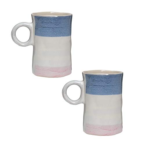 Amici Home Primitive Collection Agate Coffee Mugs, Irregular Shape Three Color Reactive Glaze Ceramic Drinkware, 16 Ounce Capacity, Set of 2