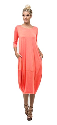 Tabeez Women's Casual 3/4 Sleeve and Long Sleeve Loose Bubble Jersey Shift Cocoon Midi Dress (Made In The USA),Coral,Small