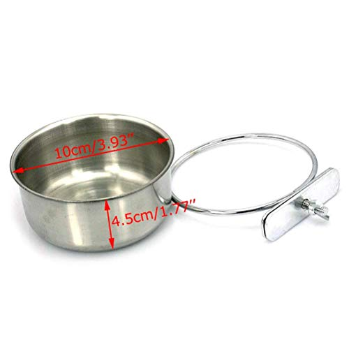 Bird Parrot Feeding Cups with Clamp Holder Stainless Steel Coop Cup Food Water Bowls Dish Feeder for Cockatiel Conure Budgies Parakeet Parrot Macaw Small Animal Chinchilla hummingbird Ferret Cat