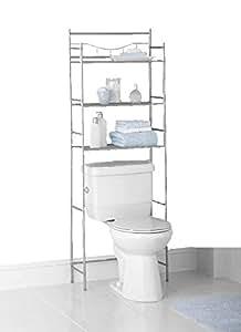 mainstays 3 shelf bathroom space saver fits most standard toilets 3 shelf satin. Black Bedroom Furniture Sets. Home Design Ideas