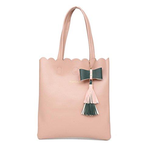 YJYDADA Bag,Girls Women Fashion Tassel Bag Leather Pure Color Bag Shoulder Bag Handbag (Pink) by YJYDADA