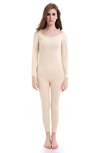 Women Long Johns Crew Neck Thermal Underwear Thin Lightweight Base Layer Set by CnlanRow (Image #1)