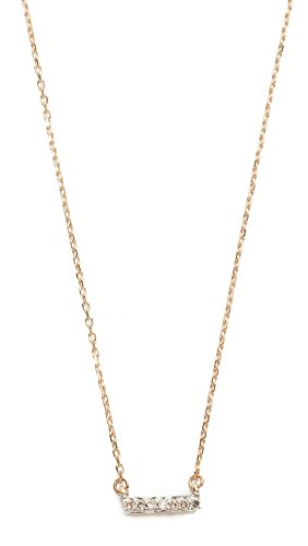 Adina Reyter : Jewelry Necklaces - Adina Reyter Women's Super Tiny 14k Gold Pave Bar Necklace, Gold, One Size