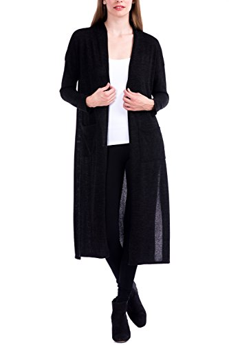 Modern Kiwi Kenzie Long Knit Open Duster Cardigan Black - Knit Womens Cardigan Ribbed