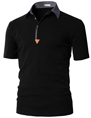 (H2H Mens Polo Shirts for The Casual Everyday Dresser Black US S/Asia M)