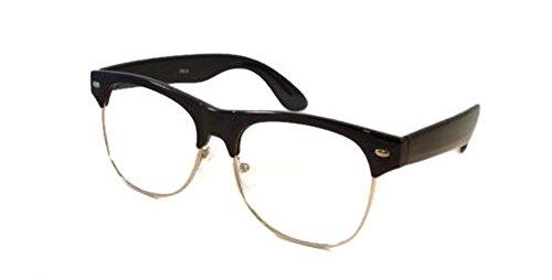 VINTAGE Trendy Clubmaster Retro Nerd Clear Lens Eye Glasses BLACK ()