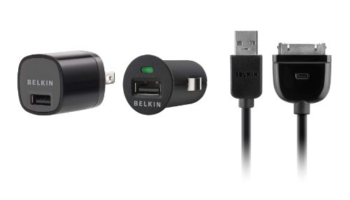 - Belkin USB Charging Kit with Wall Charger and Car Charger for Apple iPhone (Black)