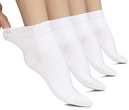 Womens High Ankle Diabetic Socks Seamless (White, Shoe size: 11-13)