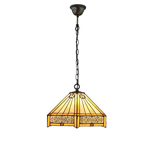 FixtureDisplays Tiffany Style Warm Light Glass & Steel Hanging Pendant Ceiling Lamp Fixture 16694 ()