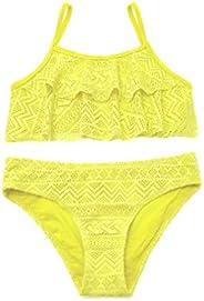 SHEKINI Girls Swimwear Flounce Crochet Two Piece Bikini Bathing Suits