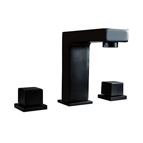 AUXO Stylish Solid Brass Matte Black Double Square Handles 3 Holes Right-Angle Faucet Body Widespread Bathroom Deck Mounted Sink Faucet ()