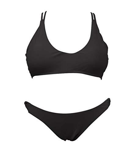 (SHEKINI Women's Pineapple Printing Strappy Cross Padding Bikini Set Beach Swimwear Black)