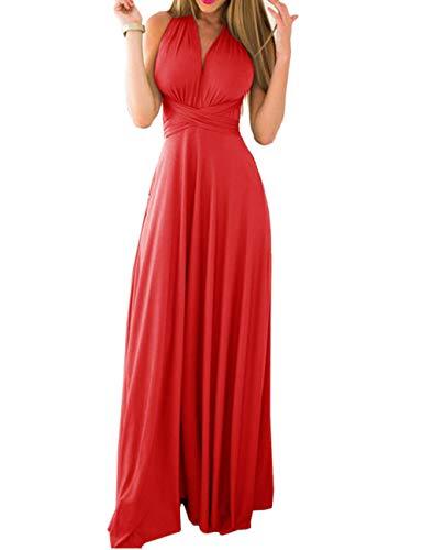 Honor Elegante Cóctel de Larga Mujeres Dama de EMMA Rojo sin Vestido Noche Falda Respaldo de qYfPwx4vI