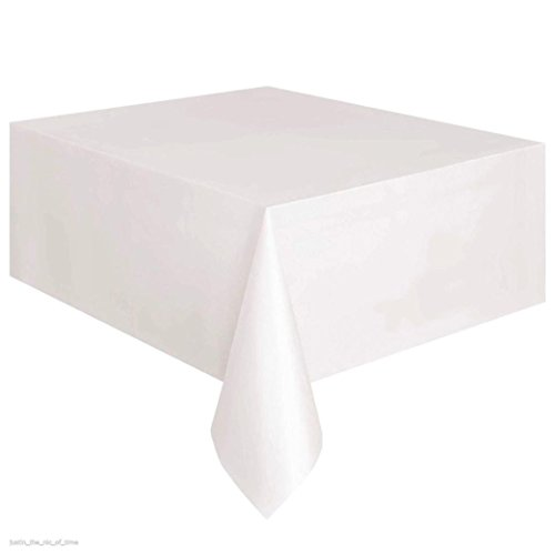 2 x 54in) Plain colour Disposable Plastic Tablecloth Rectangle Table Cover (White) (Queens Plain Cake Plate)