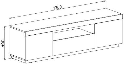 Bank Sideboard Lowboard Wohnwand LUK Furniture Yoshi TV-Schrank Eiche Wotan Schwarze Fronten Fernsehschrank mit Schubladen und Push to Open System TV