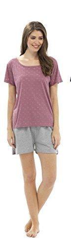 e Star set pantaloncini t shirt burnout Rosa pigiama Ladies SFAxIqvwq