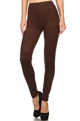(Always Women's Solid Color Full Length High Waist Leggings Brown One Size)