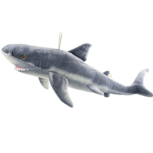 Houwsbaby Realistic Giant White Shark Stuffed Marine Animal Fierce Jaws Lifelike Oceanic Fish Soft Plush Toy Hanging Gift for Kids, 40
